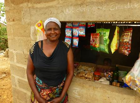 Sedah's stand three months after receiving her microloan