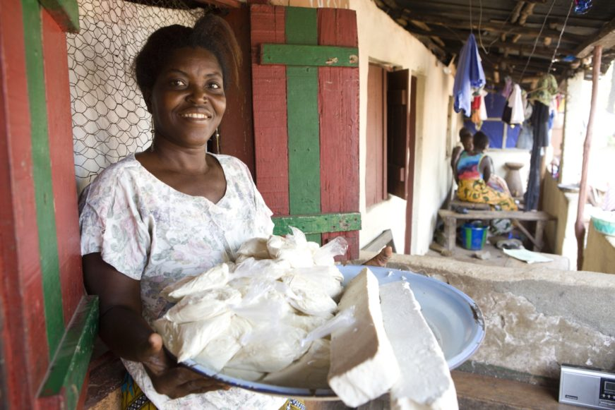 woman in sierra leone selling soap